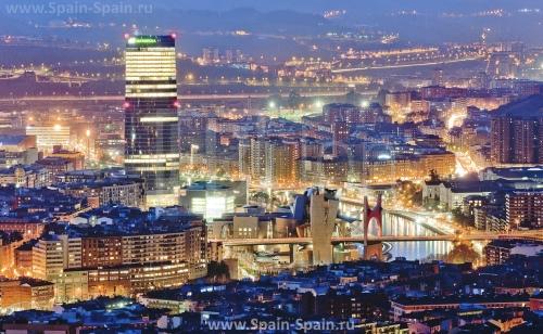 Красивый вид на город Бильбао
