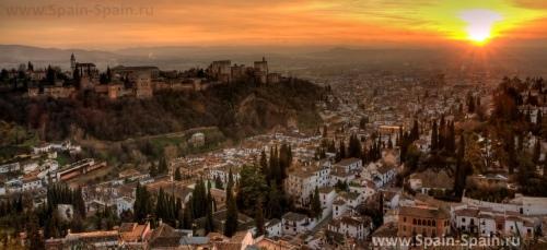 Красивый вид на город Гранада