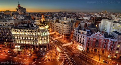 Красивый вид на город Мадрид