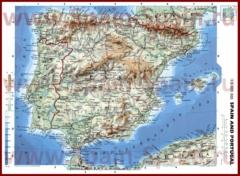 Физическая карта Испании