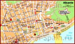 Карта Аликанте с достопримечательностями