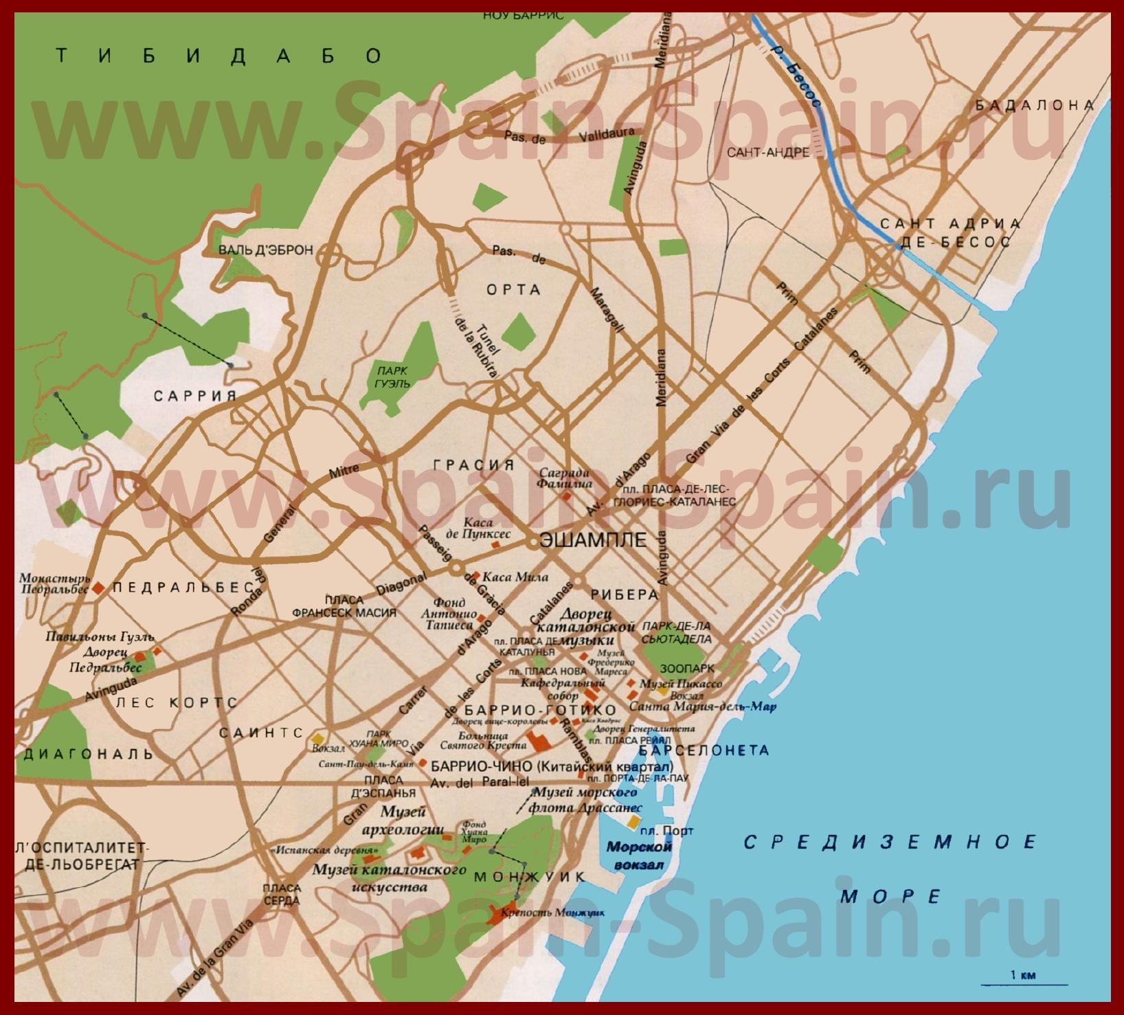 Карты Барселоны | Подробная карта города Барселона на ... Валенсия Испания Карта