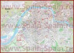 Подробная туристическая карта города Бильбао с отелями и достопримечательностями