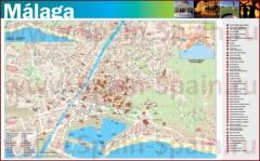 Подробная туристическая карта города Малага