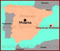 Пальма-де-Майорка на карте Испании