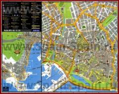 Подробная туристическая карта Пальма-де-Майорки с достопримечательностями и отелями