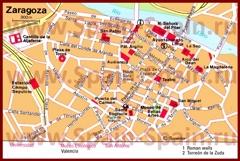 Карта центра Сарагосы с достопримечательностями