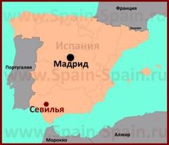 Севилья на карте Испании