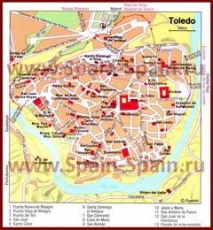 Карта центра Толедо с достопримечательностями