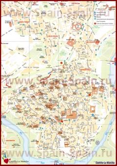 Подробная туристическая карта города Толедо с отелями и достопримечательностями