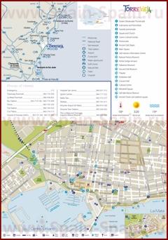 Туристическая карта Торревьехи с отелями и достопримечательностями