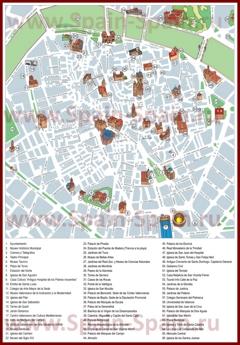 Карта центра Валенсии с достопримечательностями