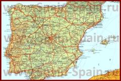 Карта дорог Испании на русском языке