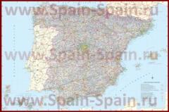 Подробная карта дорог Испании с побережьем