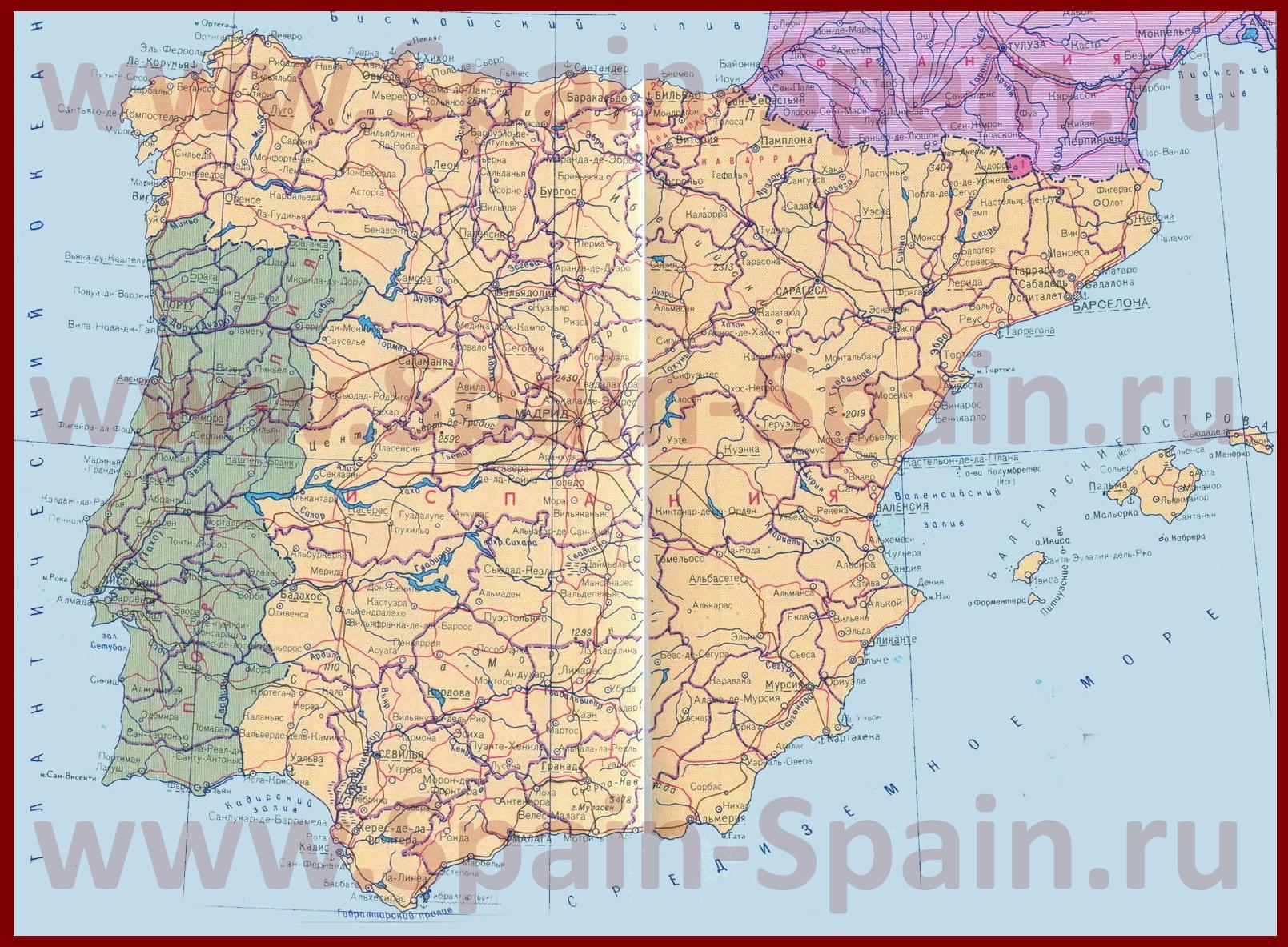 Подробная карта испании на русском