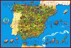 Туристическая карта Испании с достопримечательностями